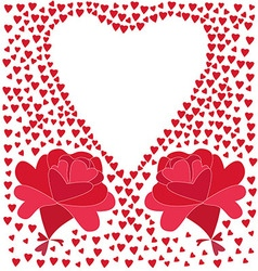 Two flowers consisting of red hearts and the vector image