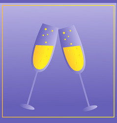 two glasses of champagne merry christmas and vector image