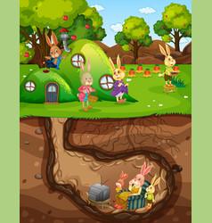 Underground rabbit hole with ground surface vector