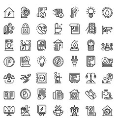 Utilities icons set outline style vector