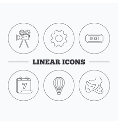 Video camera ticket and theatre masks icons vector