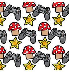 Video game controller star mushroom elements vector