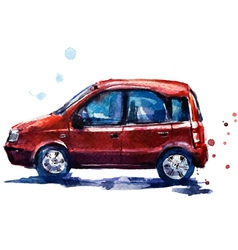 Watercolor red car vector