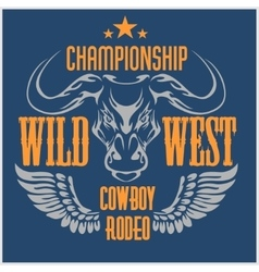 Wild west championship - cowboy rodeo vector