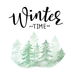 Winter time lettering vector