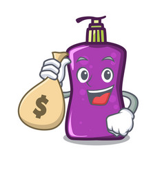 With money bag shampo character cartoon style vector