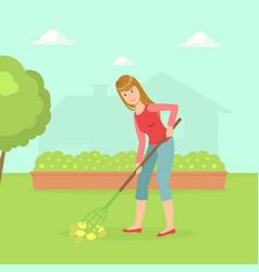 woman working in garden with rake housewife vector image