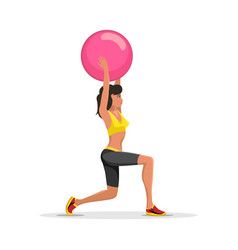 Young woman exercising with fitness yoga ball vector