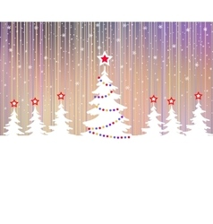 Christmas tree with star and garlands vector image vector image