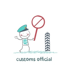 Customs officer holding a stop sign vector