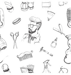hand drawn barbershop seamless pattern with vector image