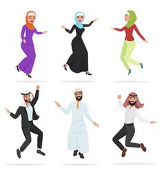 happy group of cute arab people jumping cartoon vector image vector image
