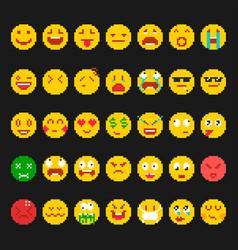 pixel emoticon set vector image