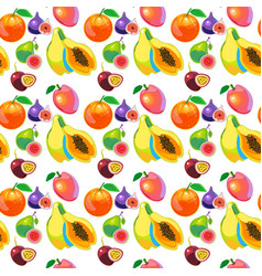 tropical fruits vitamin food seamless pattern vector image