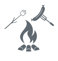 Barbecue marshmellow and sausage icon vector image