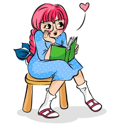 Girl with a book vector