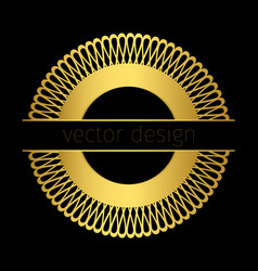 golden logo template with circle ornament vector image vector image