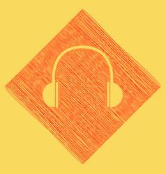 headphones sign red scribble vector image