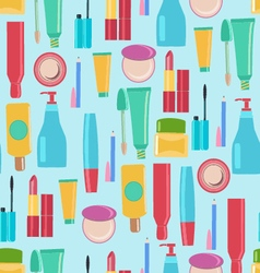 pattern with Beauty and cosmetics tools vector image vector image