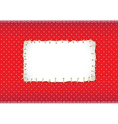 Polka dot frame with stitched patch vector image