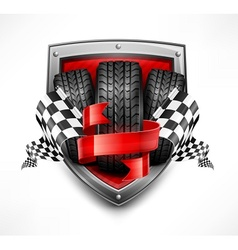 Racing symbols on shield vector image vector image