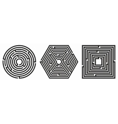 Set of 3 maze - labyrinth on white background vector image