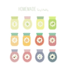 Set of jam jars with labels vector image vector image
