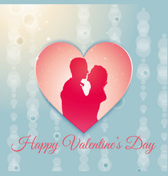 valentines day background with a couple silhouette vector image vector image