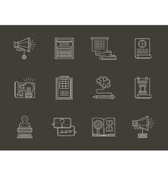Web development flat white line icons vector image