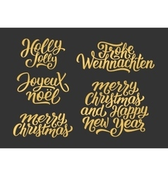 Christmas and New Year lettering set vector image
