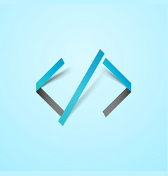 code icon in cutout style isolated on light vector image