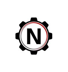gear solution logo letter n vector image vector image