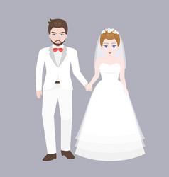 groom holding hand with bridge vector image