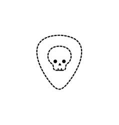 dotted shape rock emblem with skull symbol design vector image vector image