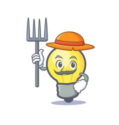 farmer light bulb character cartoon vector image