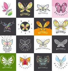 large set of logos butterflies vector image vector image