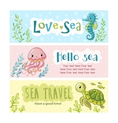 Set of banners on the marine theme vector image vector image