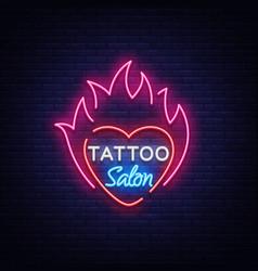 tattoo salon logo neon sign a symbol of vector image