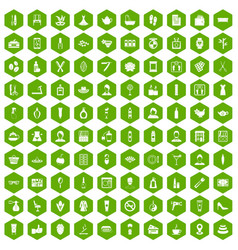 100 beauty salon icons hexagon green vector