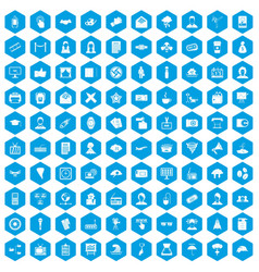 100 journalist icons set blue vector