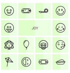 14 joy icons vector image