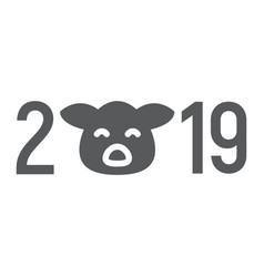 2019 pig year glyph icon celebration vector image