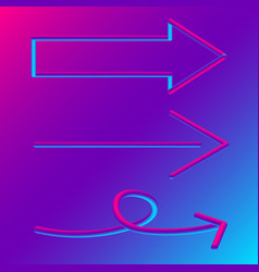 3d arrow signs set blue and purple gradient vector image