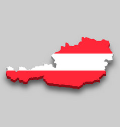 3d isometric map austria with national flag vector