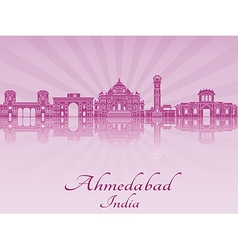 Ahmedabad skyline in purple radiant orchid vector
