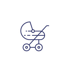 baby stroller icon on white line vector image