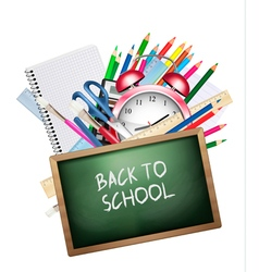 Back to school Background with colorful supplies vector