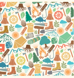 background pattern with camping icons vector image vector image