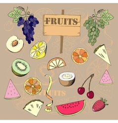 Background with fruit1-04 vector image