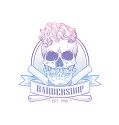 barbershop logo with angry skull vector image